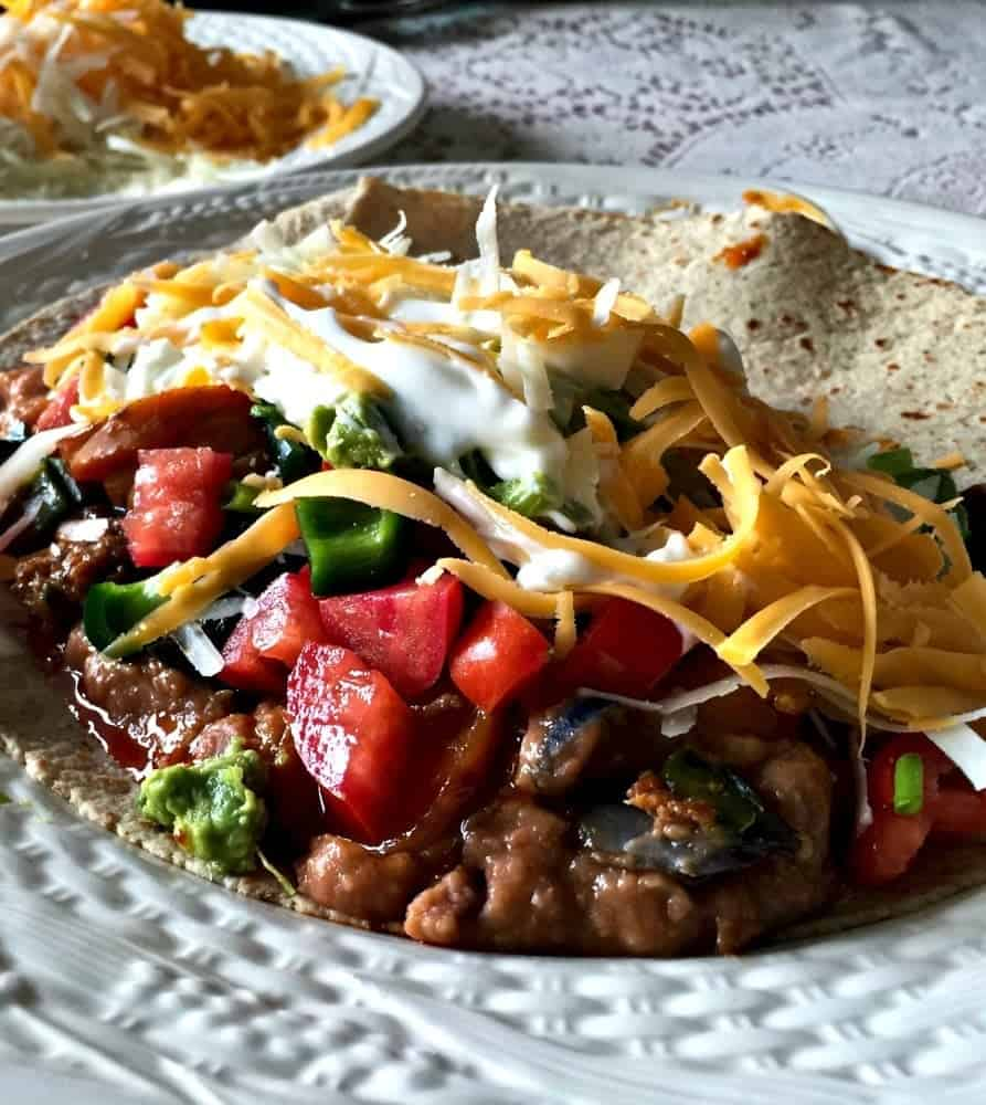 Purple Potato Chorizo Burrito is low carb, high fiber, gluten free. This quick and easy one skillet meal is made with the healthiest Potatoes! http://HomemadeFoodJunkie.com