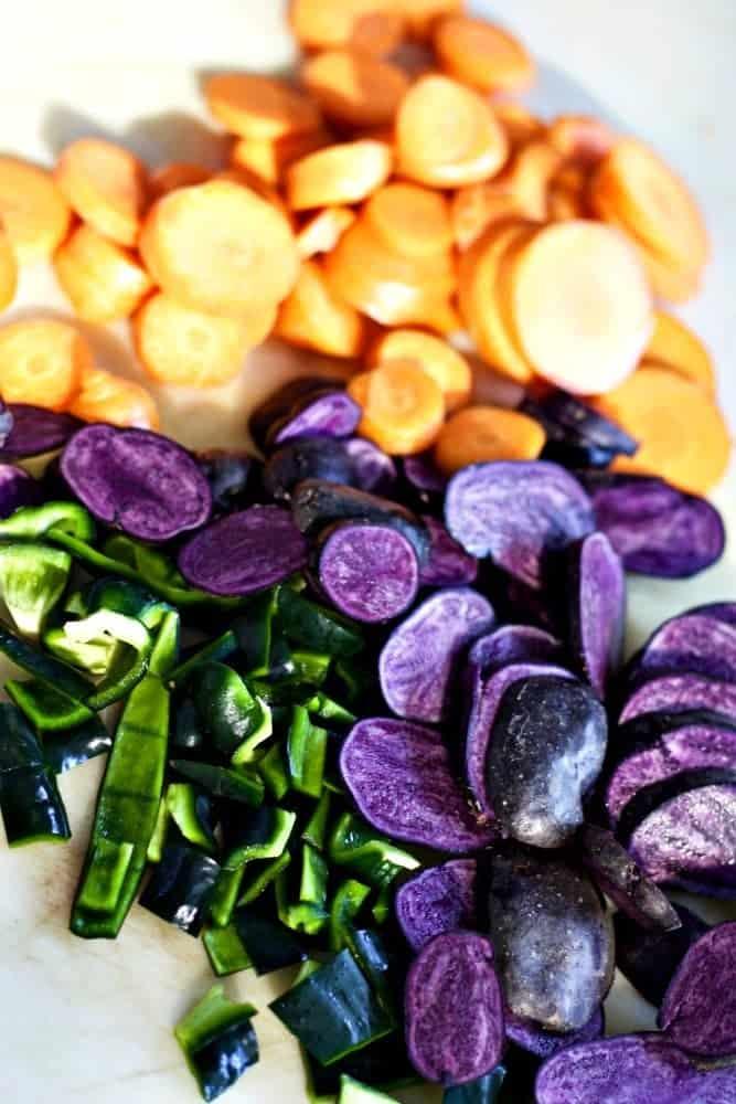 Purple Potato Chorizo Burrito.Purple Potato Chorizo Burrito. Veggies For the stir fry