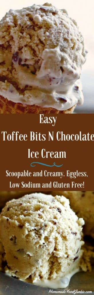 Easy Toffee Bits N Chocolate Ice Cream Recipe isQuick N easy low sodium, eggless and gluten free