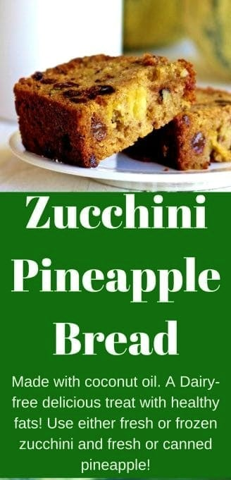 Zucchini Pineapple Bread makes a moist, delicious quick bread loaf for breakfast, a party tray or snacks. The fresh or canned pineapple adds a little bump of flavor to this delicious quick bread recipe. #zucchinibread #zucchinirecipe #pineapplebread #quickbreadrecipe #zucchinirecipe #partyfood #desserttable