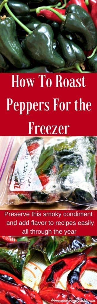 How to Roast Peppers For the Freezer Learn how to roast peppers and freeze them for a smoky condiment in recipes all though the year. Great garden harvest idea!