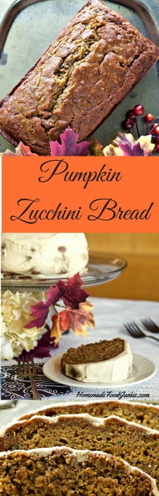 Pumpkin Zucchini Bread is one of the best things about Fall. Combining warm rich pumpkin and zucchini together creates a moist rich breakfast or dessert. Works with fresh or frozen zucchini or fresh or canned pumpkin.