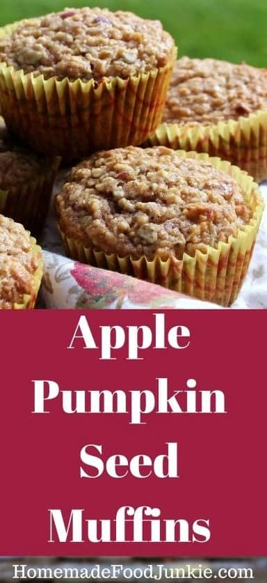 Apple Pumpkin Seed Muffins are made entirely from scratch. Full of healthy fibrous fresh apples, pumpkin seeds, ginger and flax meal. These muffins make a nutritious breakfast or healthy grab food anytime of day or night! #applerecipe #muffins #pumpkinseeds #Fallrecipe #fall