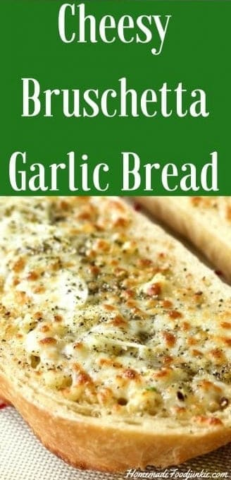 Cheesy Bruschetta Garlic Bread is over the top good!! Serve this decadent, buttery, cheesy bread with your favorite soup or Italian dinner. Comfort food heaven! #garlicbread #grillside #side #bread #Cheesybread #bruschetta