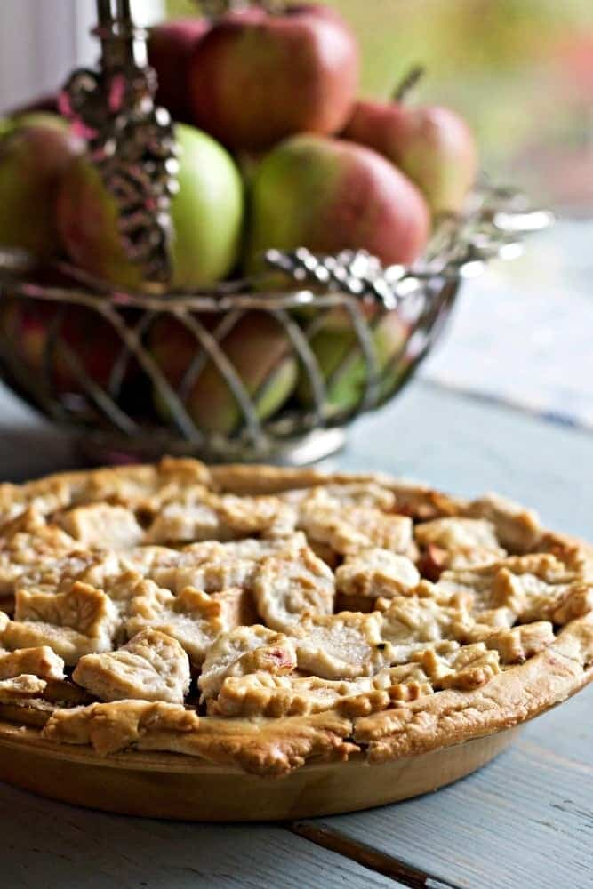 Caramel Apple Pie with Fall leaves Motif