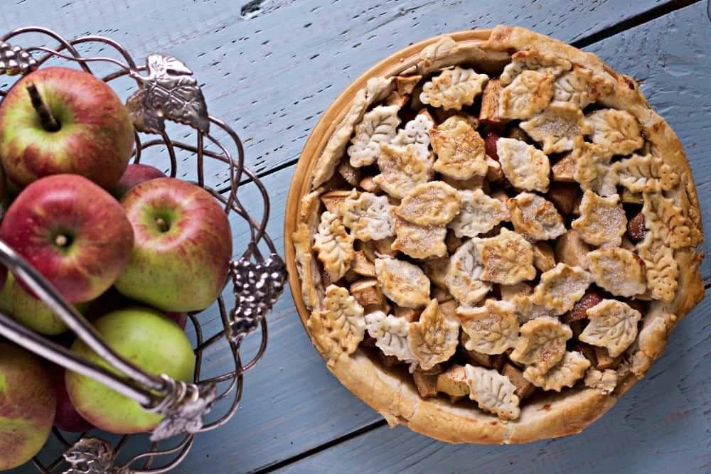 Caramel Apple Pie with autumn leaf top