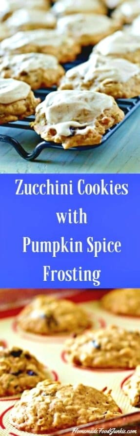 Zucchini Cookies with Pumpkin Spice Frosting is a delicious way to use up harvest zucchini. The frosting adds so much yumminess. Great Party food! Make this yummy Fall treat with Kids. Great snacks! #cookies #snacks #zucchini #pumpkinspice #mealplanning #recipe #zucchinicookies