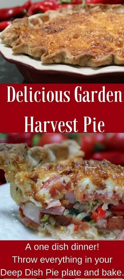 Delicious Garden Pie is a perfect recipe for using up odds and ends of produce. The single herbed crust with a mayonnaise herbed cheesy top make this a yummy favorite family meal. #Vegetablepie #Tomatopie #pie #dinnerrecipe #gardentotablerecipe #gardenrecipe
