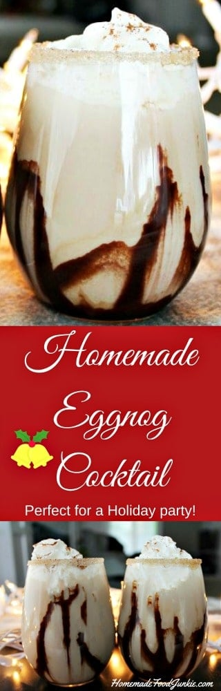 Homemade Eggnog Cocktail recipe has delicious hints of chocolate, caramel, and coffee mixed with the yummy taste of old fashioned eggnog. #christmascocktail, #cocktailrecipe, #christmasparty, #christmasdrinks, #cocktail,