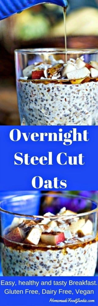 Overnight Steel Cut Oats Breakfast is amazingly easy and good for you and your family. Do a few minutes work the night before and this no-cook, gluten-free, dairy-free, vegan, breakfast will be ready in under five minutes in the morning. A filling, delicious way to start your day.
