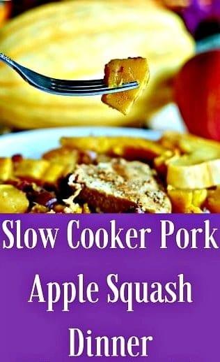 Slow Cooker Pork Apple Squash Dinner healthy, easy dinner full of delicious Fall flavors