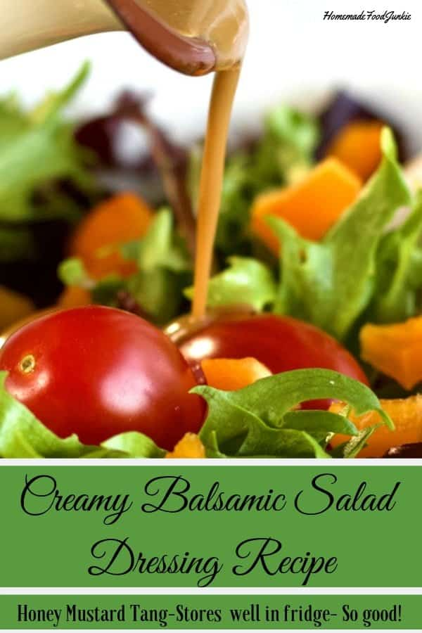 A Refreshing, tangy homemade salad dressing with a bit of sweet. This dressing makes a flavorful, healthy, gluten free addition to your green salad. #glutenfree #saladdressingrecipe #saladdressing #balsamicdresssing #viniagrette #honeymustardsaladdressing