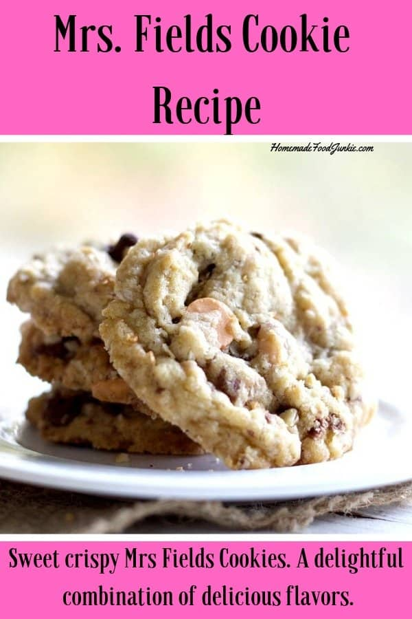Mrs. Fields Cookies from an old vintage recipe. I twisted it a bit with my own add ins to make a delightfully different take on this old favorite. You'll love this! #chocolatechipcookierecipe #mrs.Fieldscookies #copycatMrsFields cookies #cookierecipe #dessert #desserttable