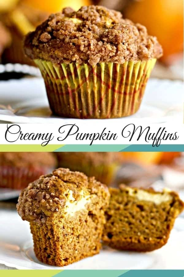 Creamy Pumpkin Muffins Rich, moist cakey pumpkin muffins filled with cream cheese are soft and blissfully good! Creamy pumpkin muffins make a fantastic, filling breakfast or snack. #muffins #pumpkin #recipe #breakfast #snack #partyideas