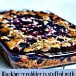 Blackberry cobbler is stuffed with luscious, juicy blackberries, nestled into a moist, sweet dough. Coconut oil gives this old-time family favorite dessert an upgrade in healthy fat and flavor. #blackberrycobbler #blackberrydessert #blackberryrecipe #dessert #easydessert #partyfood #potluckrecipe #cobblerrecipe