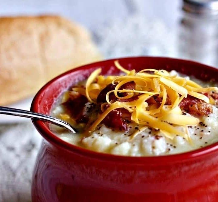 Instant pot cheesy cauliflower potato soup
