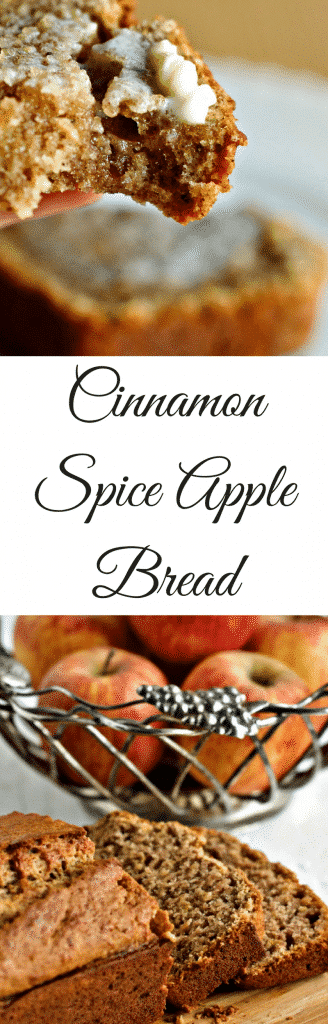 Cinnamon Spice Apple Bread a cozy winter quick bread full of healthy natural ingredients. Fresh apples, ginger and pure organic maple syrup combine with coconut oil to bring your family loads of nutrients in a yummy snack bread. Healthy Comfort food!