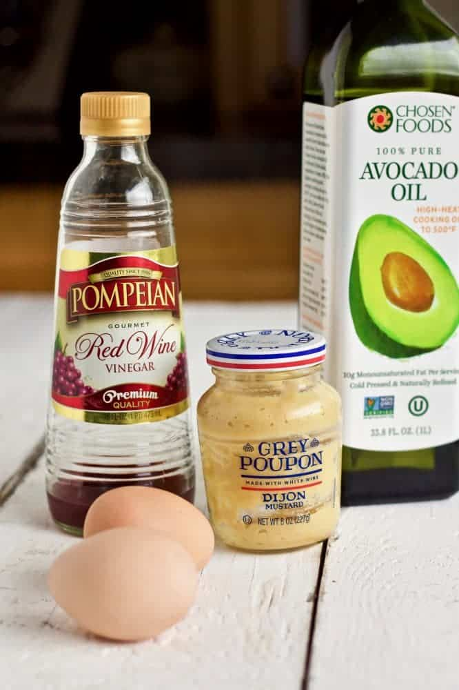 Ingredients for healthy homemade mayonnaise