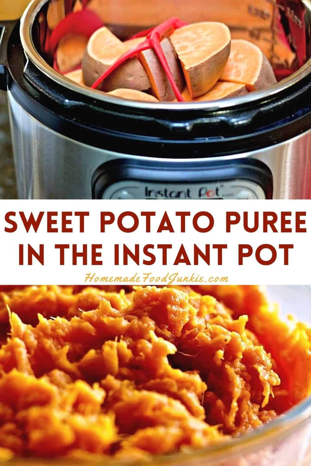 Sweet potato puree in the instant pot-pin image