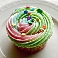 multi colored rainbow cupcakes