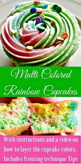 Adorable multi colored rainbow cupcakes are delicious, super cute and easy to make! Colorful and fun, they are sure to be a hit at any gathering. Post includes tips!  #cupcakes #cupcakerecipe #rainbowcupcakes #unicorncupcakes
