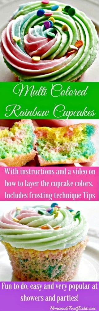 Adorable multi colored rainbow cupcakes are delicious, super cute and easy to make! Colorful and fun, they are sure to be a hit at any gathering. Post includes tips!
