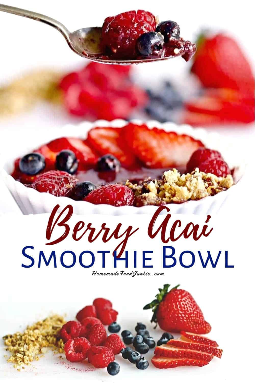 Berry Acai smoothie bowl-pin image