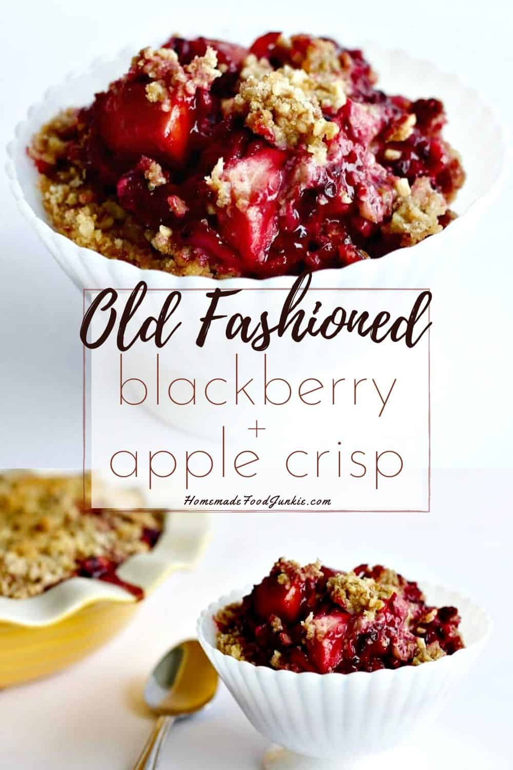 old fashioned blackberry and apple crisp-pin image