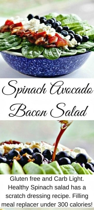 Delicious healthy Spinach Avocado Bacon salad recipe is quick and easy. Make it a light lunch, healthy side or a light meal replacer. The variety of flavors and texture satisfy the palate and won't increase your waistline. Gluten free! #salad #spinachsalad #glutenfreerecipe #saladrecipe #healthysalad