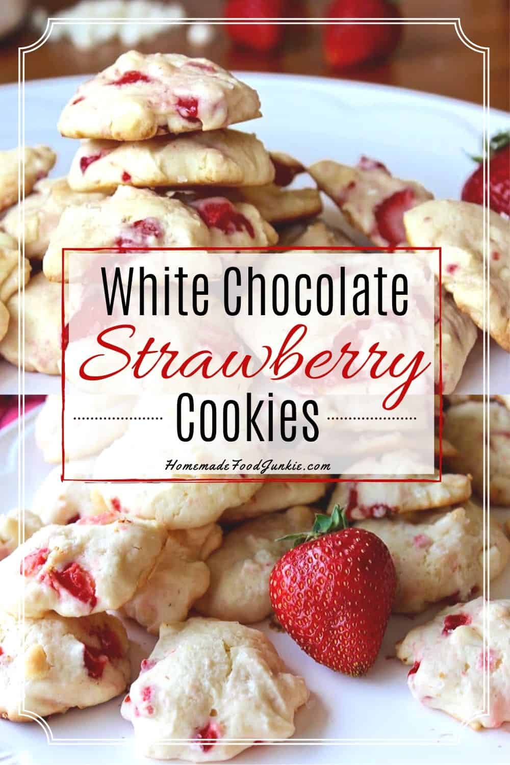 White Chocolate Strawberry Cookies-pin image
