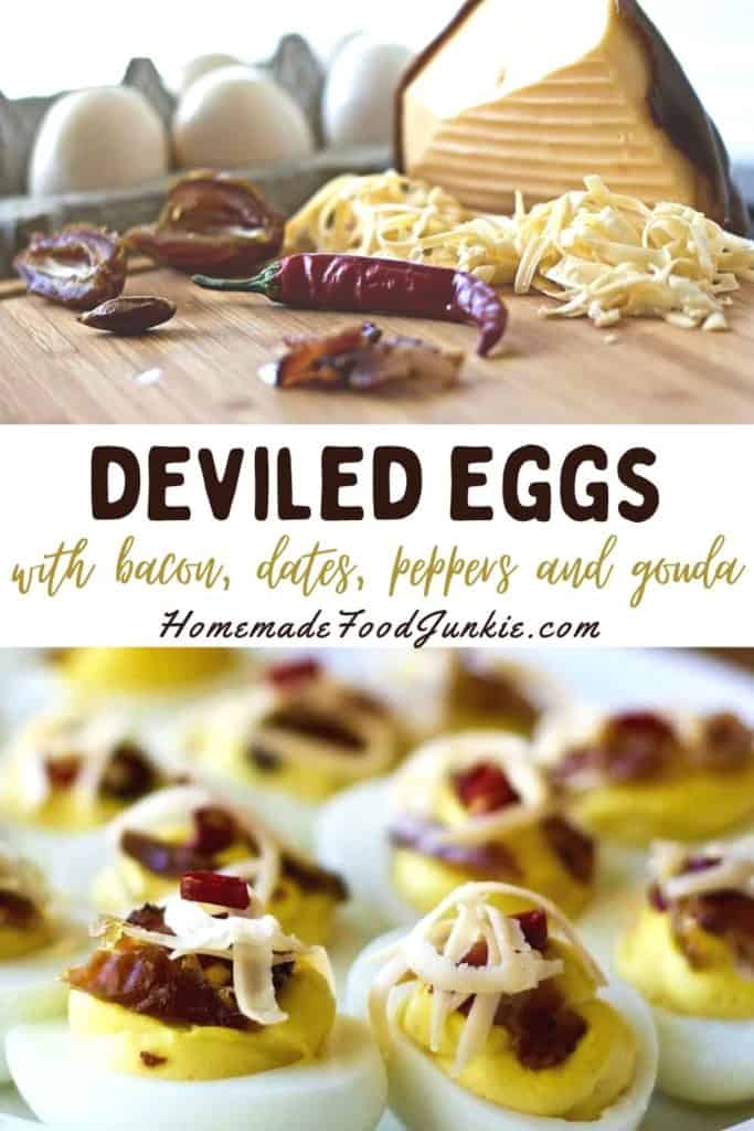 Deviled eggs with bacon, dates, peppers and gouda-pin image