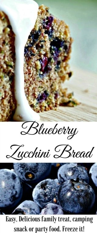 Blueberry Zucchini Bread Delicious With A Flavor Trick You Will Love! Freezes Well Without Glazing. Great For Parties, Camping And Snacks. #Zucchinibread #Blueberrybread #Blueberrydessert #Dessert #Desserttable #Zucchinirecipe #Zucchini #Blueberries #Quickbread #Snacks #Lunchboxrecipe #Campingfood