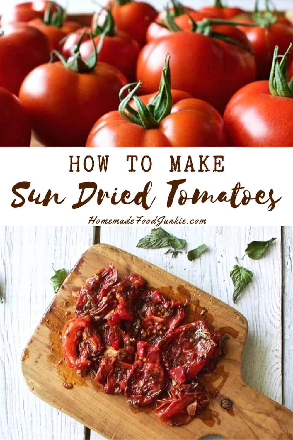 How to make sun dried tomatoes-pin image