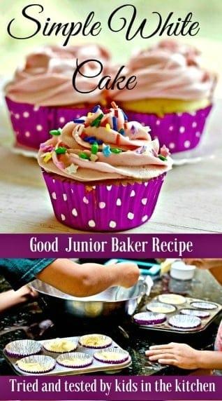 Simple White Cake or cupcakes. Perfect junior baker recipe. #kidsonthekitchen #juniorbakerrecipe #whitecake #simplewhitecake #dessert #cakerecipe