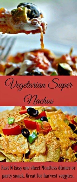 Vegetarian Super Nachos with refried beans and fresh, raw zucchini, peppers and tomatoes. Add your favorite guacamole, salsa and sour cream. A yummy thrifty, 30 minute meatless Monday harvest dinner. Lay it all out on a baking sheet. Pop it in the oven. Eat! It's so good! #nachos #mexicanrecipes #vegetarian #glutenfree #easydinner #quickdinner #partyfood