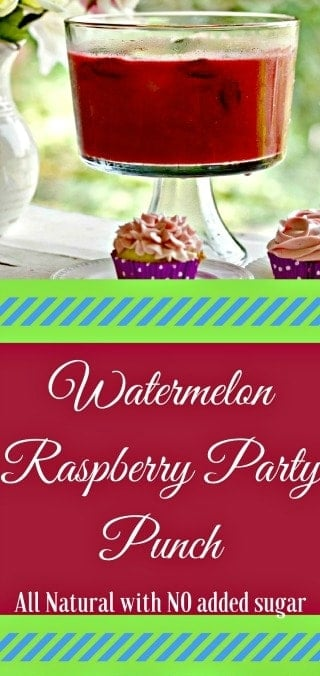 Watermelon Raspberry Party Punch brings a party to life with this flavorful fresh fruit and peppermint punch. This recipe has No added sugar. Perfectly ripe pureed fruits with a hint of  mint make a delicious, completely natural, summertime party drink. #partydrinks #drinks #punch #watermelon #raspberry #summer #glutenfree #lowcarb