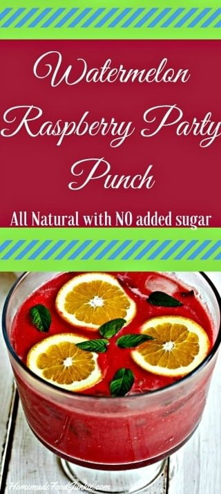 Watermelon Raspberry Party Punch brings a party to life with this flavorful fresh fruit and peppermint punch. This drink recipe has No added sugar. Perfectly ripe pureed fruits with a hint of  mint make a delicious, completely natural, summertime party drink. #partydrinks #drinks #punch #watermelon #raspberry #summer #refreshment #glutenfree #lowcarb