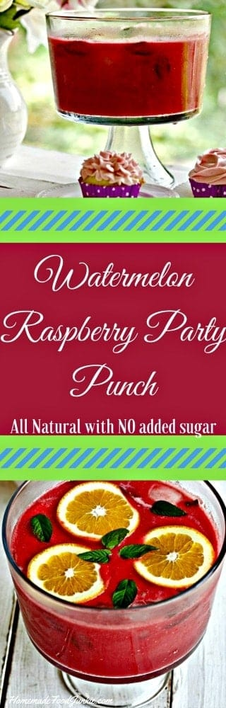 Watermelon Raspberry Party Punch is an easy delicious natural fruit punch. An excellent choice for kids parties and holiday drinks.