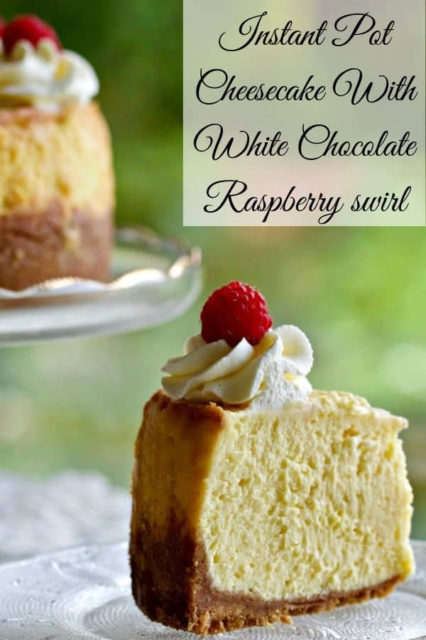Instant pot cheesecake with white chocolate raspberry swirl pin image