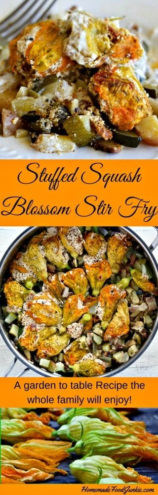 Stuffed Squash Blossom Stir Fry is a tasty recipe made from harvest produce odds and ends and topped with delicious stuffed Squash Blossoms. #gardenrecipe #squashblossoms #stirfry