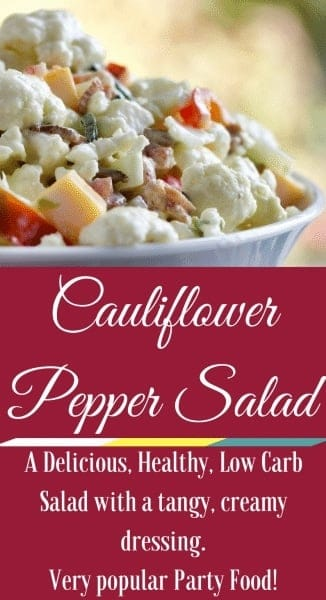 Cauliflower Pepper Salad is an addicting, low carb, combination of delicious flavors. Cauliflower, bacon, cheese, peppers and onions all combined with a creamy sauce. This salad Absolutely needs to go to your next potluck, game day party or Holiday celebration.#cauliflowerrecipe #lowcarbrecipe #salad #holidayrecipe #sidedish #grillside #potluckrecipe #reunionfood #partyfood