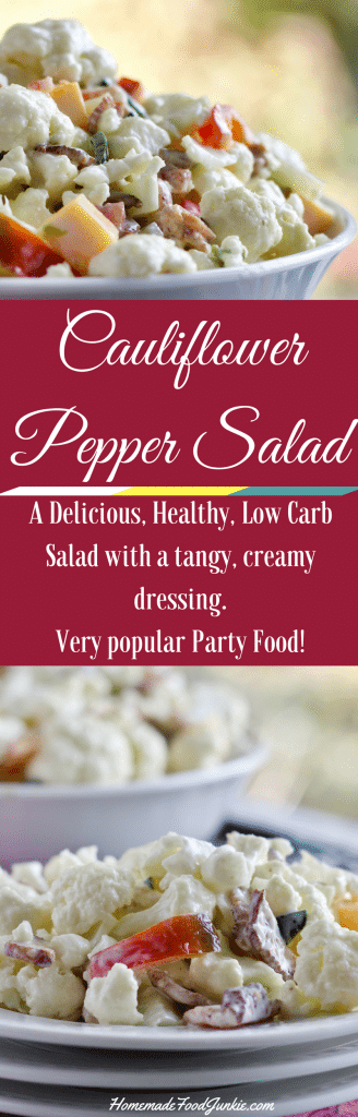 Cauliflower Pepper Salad is crunchy, flavorful and low carb. This recipe full of healthy ingredients. A delicious Tangy sweet salad with a bit of pepper zip that is pleasing to the palate. #lowcarb #salad #cauliflower #pepper #sidedish #Cauliflowerecipe #partyfood #healthysalad #healthyside