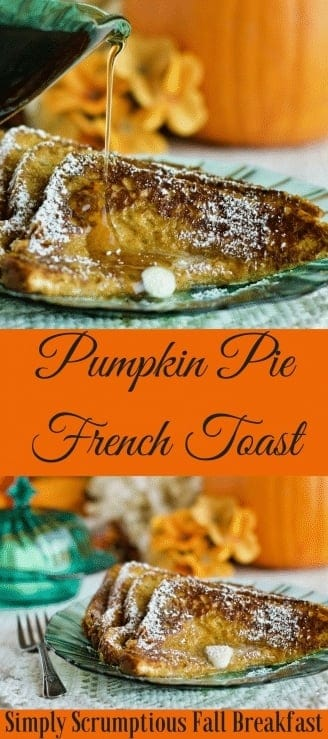 Pumpkin Pie French Toast Want a batch of French toast with a delicious Fall twist? Here's a breakfast recipe your family will love. Pumpkin Pie French Toast is perfect for brisk Fall mornings. #pumpkin #recipe #breakfast #frenchtoast #homemadefoodjunkie.com