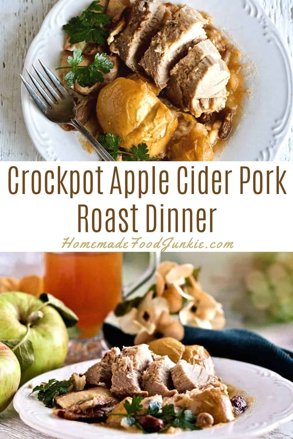 Crockpot apple cider pork roast dinner-pin image