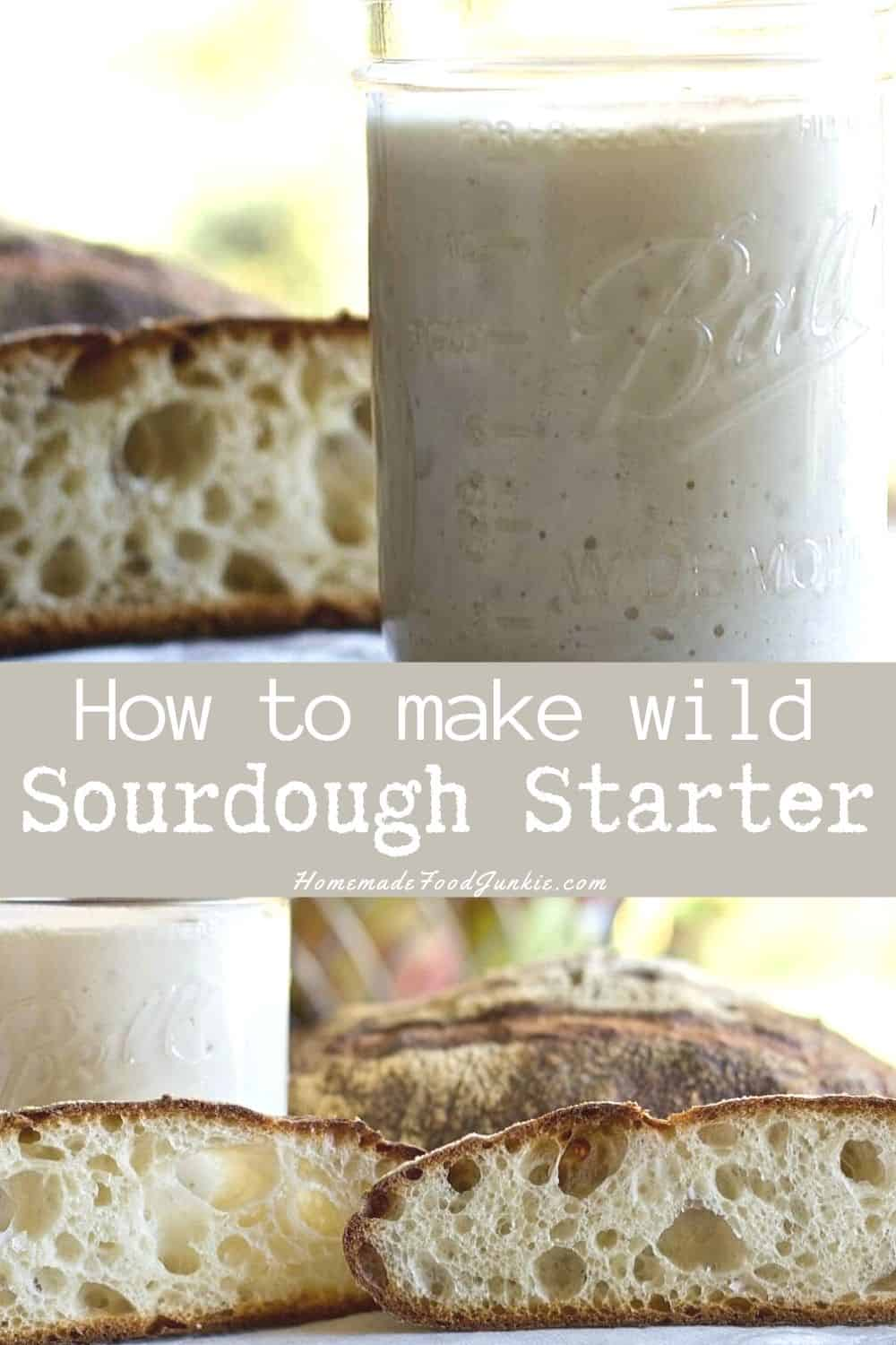 How to make wild sourdough starter-pin image