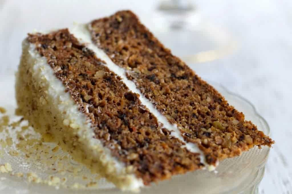 A cut slice of Carrot Pineapple Cake