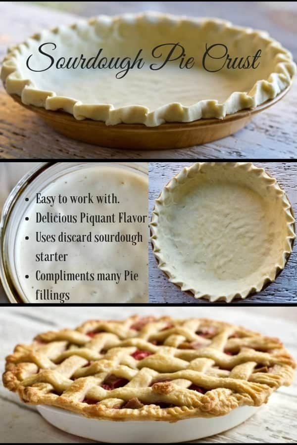 Sourdough Pie Crust is easy to work with, uses up discard starter, Freezes well and makes a delicious pie! #sourdough #pie #piecrust #recipe #holidayrecipe #sourdoughdiscardrecipe