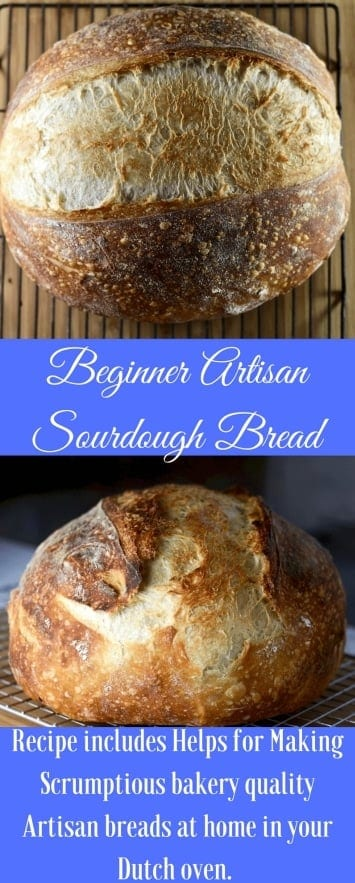 Beginner Artisan Sourdough Recipe is a complete tutorial including video. Learn how to make your own perfect sourdough bread. #sourdough #sourdoughbread #breadtutorial #bread #breadrecipe