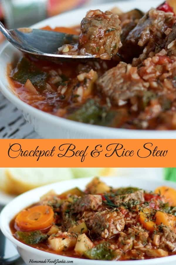 CrockPot Beef & Rice Stew an easy, filling and delicious gluten free weeknight meal. #glutenfree #recipe #weeknightdinner #crockpotdinner #slowcookerrecipe #beefstew #beefricestew