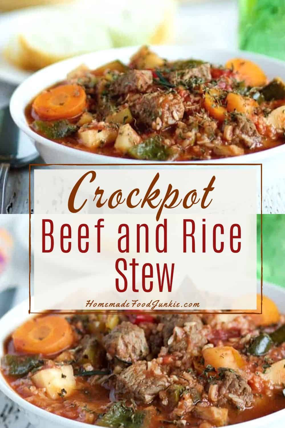 Crockpot Beef and Rice Stew-pin image